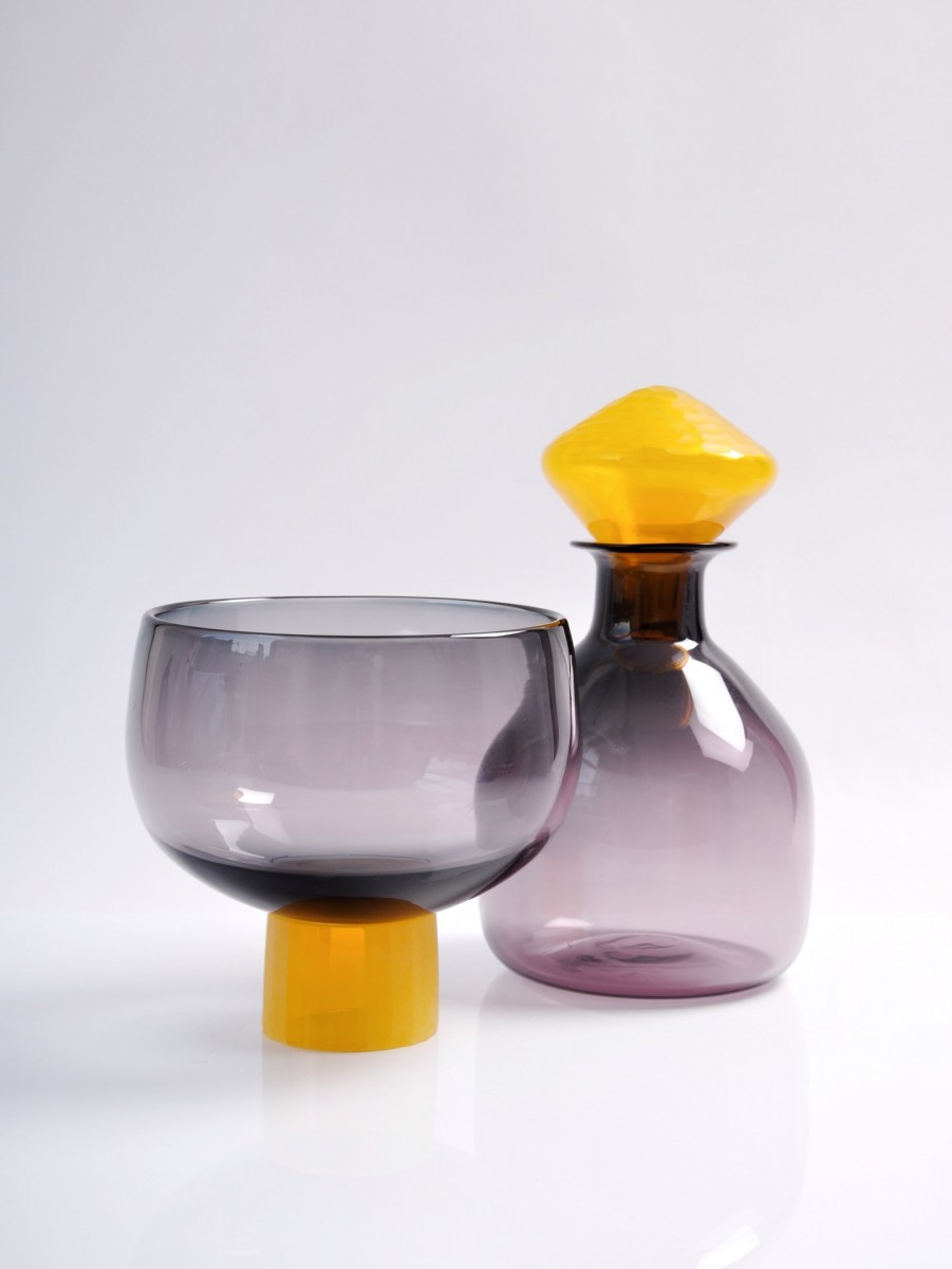 Grey and yellow glass bottle and bowl