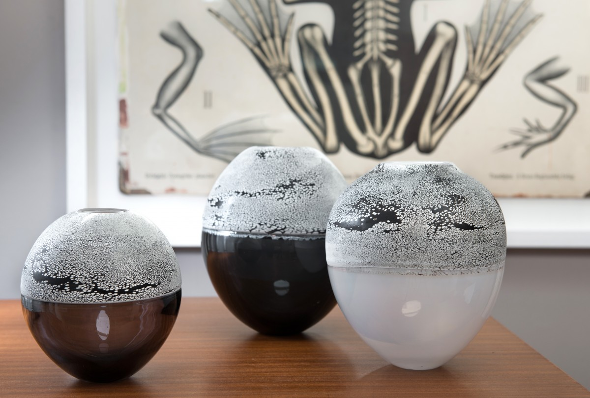 Black and white glass vases in front of print of frogs