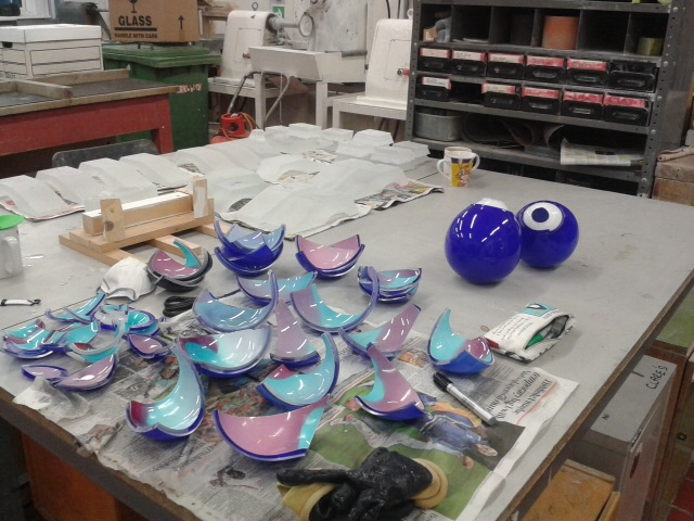Pink and blue blown glass with clear cast glass bases